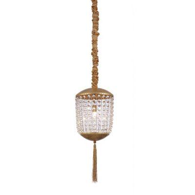 Pendente Roma Folhas de Ouro Cristal Transparente 48x21cm Mantra 1 G9 Halopin 40W Bivolt 30442 Entradas e Salas