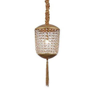 Pendente Roma Folha Dourada Cristal Conhaque 48x21cm Mantra 1 G9 Halopin 40W Bivolt 30443 Entradas e Salas