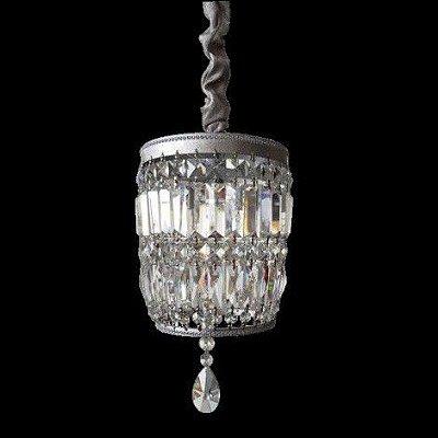 Pendente Roma Folha Prata Cristal Transparente 43x21cm Mantra 1 G9 Halopin 40W Bivolt 30447 Entradas e Salas