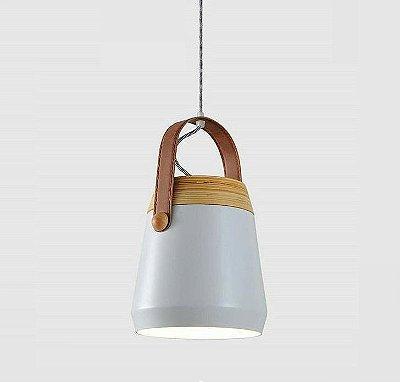 Pendente Granada Vertical Madeira Cupula Alumínio Branco 14x14cm Mantra 1 E27 40W Bivolt 30467 Cozinhas e Salas