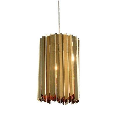 Pendente Madrid Vertical Ouro Aço Inoxidável 30x20cm Mantra 1 G9 Halopin 40W Bivolt 30483 Entradas e Hall