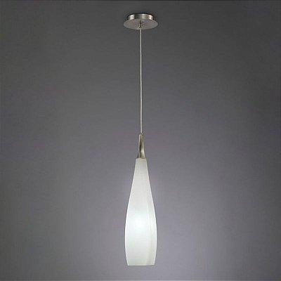 Pendente Neo Vertical Metal Satinado Vidro Leitoso 70x14cm Mantra 1 E27 15W Bivolt 3571 Salas e Quartos