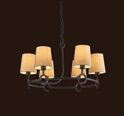 Pendente Candelabro Argi Cupula Bege Metal Envelhecido 45x82cm Mantra 6 E27 13W Bivolt 5210 Salas e Hall