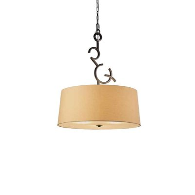 Pendente Argi Metal Envelhecido Cupula Bege 69x60cm Mantra 3 E27 23W Bivolt 5213 Corredores e Entradas