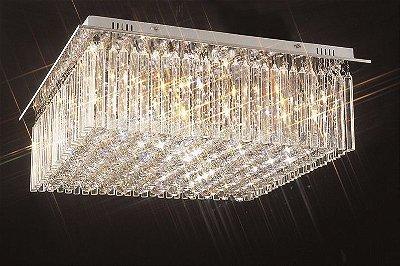 Plafon Scarlett Quadrado Cromado Cristal Transparente 45x62cm Mantra 12 G9 Halopin 40W Bivolt 2182 Salas e Hall