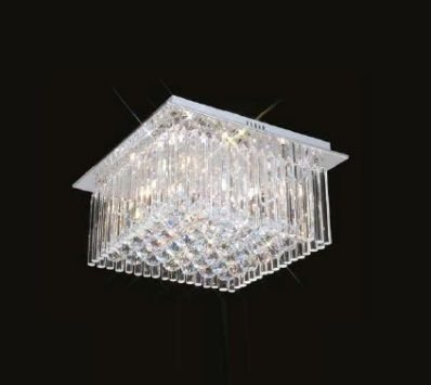 Plafon Scarlett Quadrado Cromado Cristal Transparente 32x40cm Mantra 5 G9 Halopin 40W Bivolt 2240 Salas e Hall