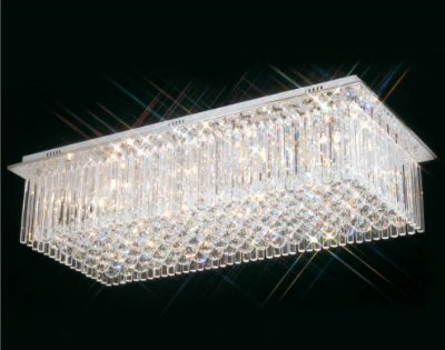 Plafon Scarlett Retangular Cromado Cristal Transparente 40x90cm Mantra 10 G9 Halopin 40W Bivolt 2241 Salas e Hall