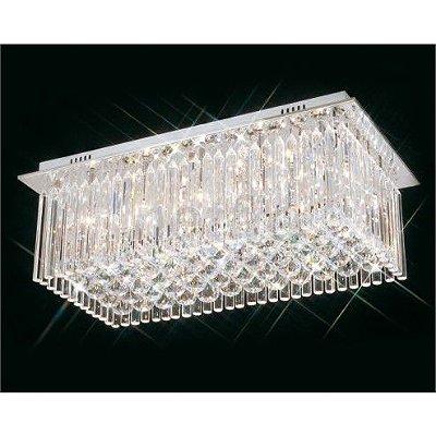 Plafon Scarlett Retangular Cromado Cristal Transparente 30x60cm Mantra 8 G9 Halopin 40W Bivolt 2243 Salas e Hall