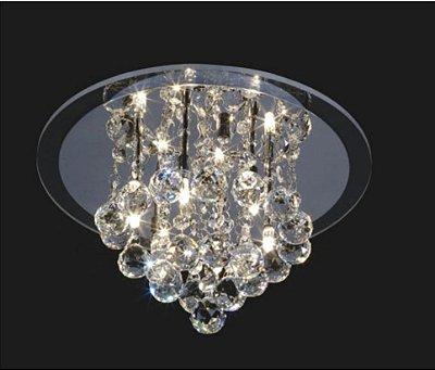 Plafon Greco Redondo Cromado Cristal Transparente 20x38cm Mantra 4 G9 Halopin 40W Bivolt 2332 Salas e Corredores