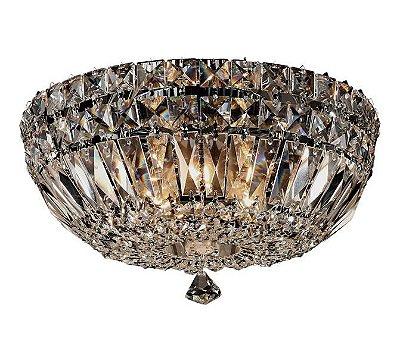 Plafon Bes Metal Cromado Cristal Transparente 16x31cm Mantra 4 G9 Halopin 40W Bivolt 2916 Salas e Entradas