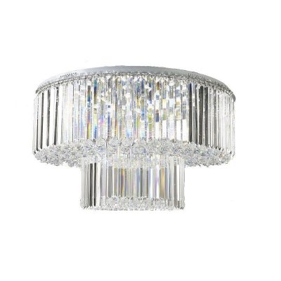 Plafon Bardot Redondo Cromado Cristal Transparente 55x90cm Mantra 18 G9 Halopin 40W Bivolt 30044 Salas e Hall