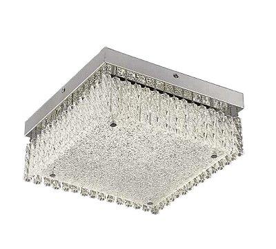 Plafon Helix Quadrado Cromado Cristal Transparente 12x28cm Mantra LED 18W Bivolt 30291 Corredores e Entradas
