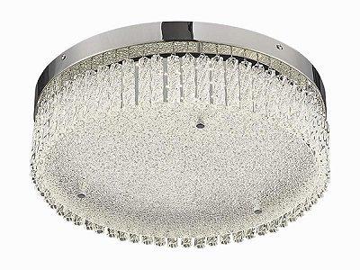 Plafon Helix Redondo Cromado Cristal Transparente 12x40cm Mantra LED 21W Bivolt 30292 Corredores e Entradas