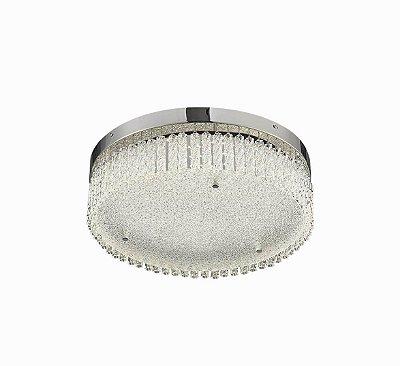 Plafon Helix Redondo Cromado Cristal Transparente 12x30cm Mantra LED 18W Bivolt 30293 Corredores e Entradas