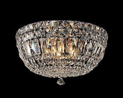 Plafon Bes Metal Cromado Cristal Transparente 27x45cm Mantra 6 G9 Halopin 40W Bivolt 30382 Salas e Entradas