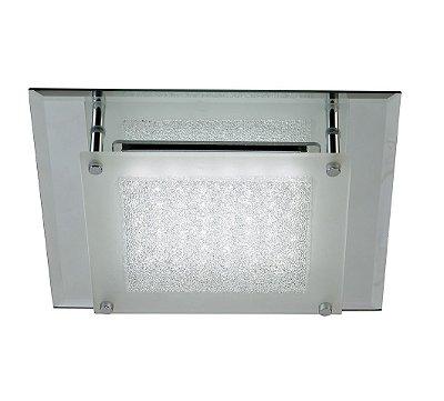 Plafon Nazar LED Quadrado Cromado Cristal 5,8x28cm Mantra Placa LED 12W Bivolt 30395 Banheiros e Quartos