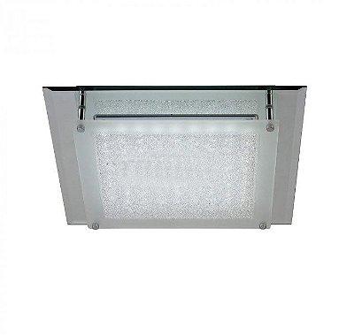 Plafon Nazar LED Quadrado Cromado Cristal 6,3x36cm Mantra Placa LED 18W Bivolt 30396 Banheiros e Quartos