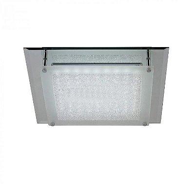 Plafon Nazar LED Quadrado Cromado Cristal 6x42cm Mantra Placa LED 12W Bivolt 30397 Banheiros e Quartos
