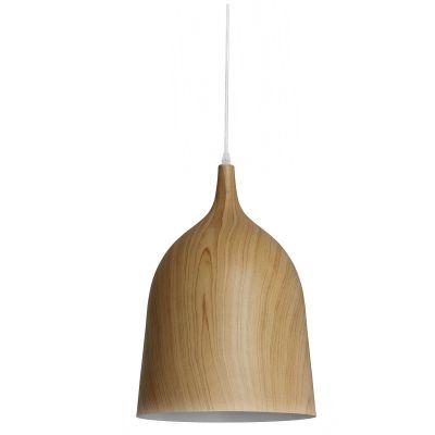Pendente Foliate Sino Alumínio Cor Madeira 40x27cm Bella Iluminação 1 E27 40W Bivolt AD002 Cozinhas e Salas