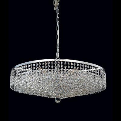 Lustre Morleans Redondo Cromado Cristal Transparente 70x70cm Bella Iluminação 8 E14 40W Bivolt AQ001L Hall e Salas