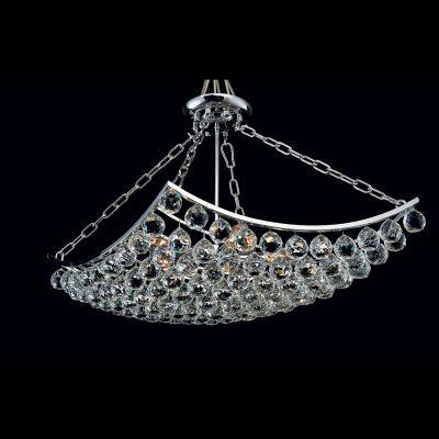 Lustre Eze Metal Cromado Cristal Transparente 45x45cm Bella Iluminação 5 E14 40w Bivolt AQ004S Salas e Hall