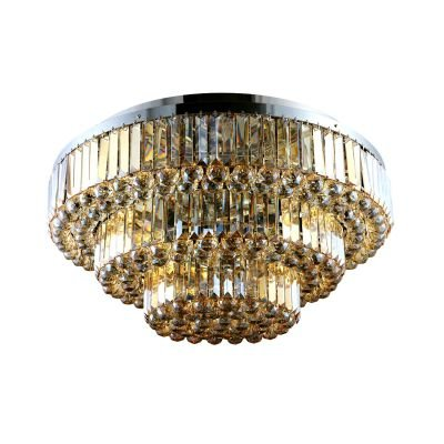 Plafon Dijon Metal Cromado Cristal Ambar 38x80cm Bella Iluminação 13 E14 40w Bivolt AQ008LA Corredores e Salas