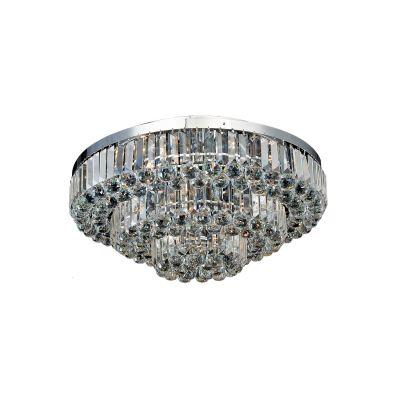 Plafon Dijon Metal Cromado Cristal Transparente 38x65cm Bella Iluminação 9 E14 40w Bivolt AQ008S Corredores e Salas