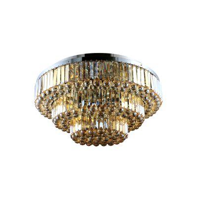 Plafon Dijon Metal Cromado Cristal Ambar 65x65cm Bella Iluminação 9 E14 40w Bivolt AQ008SA Corredores e Salas