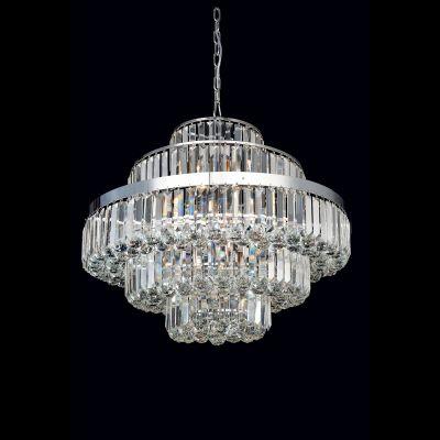 Lustre Dijon Metal Cromado Cristal Transparente 55x70cm Bella Iluminação 12 E14 40w Bivolt AQ009 Hall e Salas