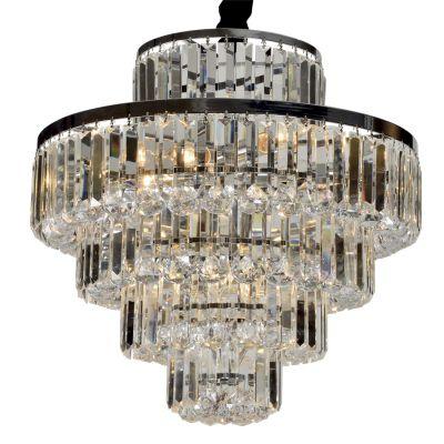 Lustre Dijon Metal Cromado Cristal Transparente 51x54cm Bella Iluminação 9 E14 40w Bivolt AQ009M Hall e Salas