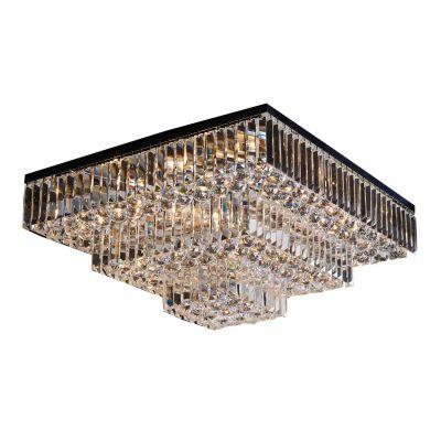 Plafon Carre Quadrado Cristal Transparente 33x67cm Bella Iluminação 13 E14 40w Bivolt AQ017 Entradas e Corredores