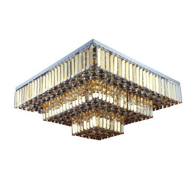 Plafon Carre Quadrado Cristal Ambar 33x67cm Bella Iluminação 13 E14 Bivolt AQ017A Entradas e Corredores