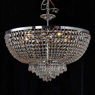 Lustre Reino Imperial Cromado Cristal Transparente 54x70cm Bella Iluminação 8 E14 Bivolt AQ020 Salas e Entradas