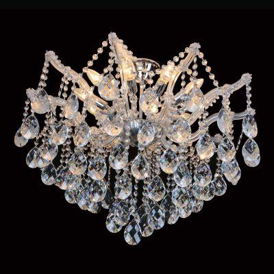 Plafon Teia Aranha Cromado Cristal Transparente 60x70cm Bella Iluminação 8 E14 Bivolt 40w AR001C Entradas e Hall