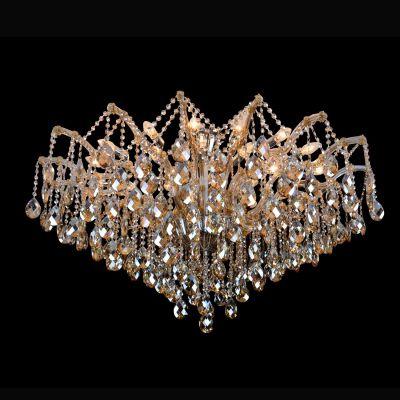 Plafon Teia Aranha Cromado Cristal Champagne 75x120cm Bella Iluminação 24 E14 40w Bivolt AR003A Entradas e Hall