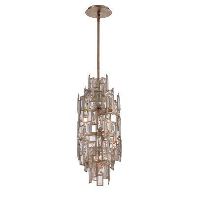 Pendente Tarsilla Cristal Metal Envelhecido 65x25cm Bella Iluminação 7 G9 Halopin 40W Bivolt AS005 Entradas e Hall