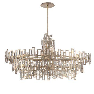 Pendente Tarsilla Cristal Metal Envelhecido 60x112cm Bella Iluminação 21 G9 Halopin 40W Bivolt AS007 Entradas e Hall