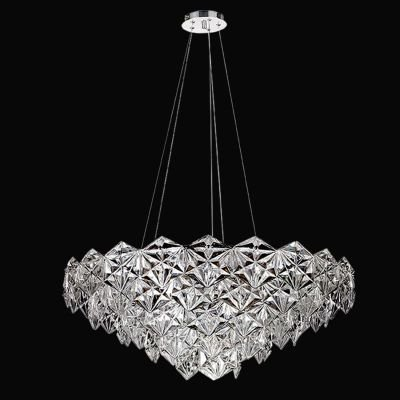 Lustre Zara Horizontal Metal Cromado Vidro Transparente 35x80cm Bella Iluminação 9 E14 Bivolt BM002C Entradas e Hall