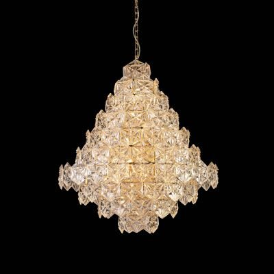 Lustre Zara Vertical Metal Cobre Vidro Transparente 95x80cm Bella Iluminação 17 E14 Bivolt BM004B Entradas e Hall