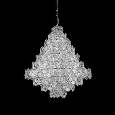 Lustre Zara Vertical Metal Cobre Vidro Transparente 95x80cm Bella Iluminação 17 E14 Bivolt BM004C Entradas e Hall