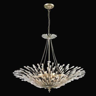Lustre Deco Vertical Cristal Metal Prata Envelhecido 79x94cm Bella Iluminação 8 E14 Bivolt BO002 Entradas e Hall