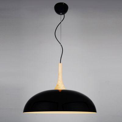 Pendente Tango Redondo Cupula Preto Metal Madeira 36x50cm Bella Iluminação 1 E27 Bivolt BQ003B Cozinhas e Salas
