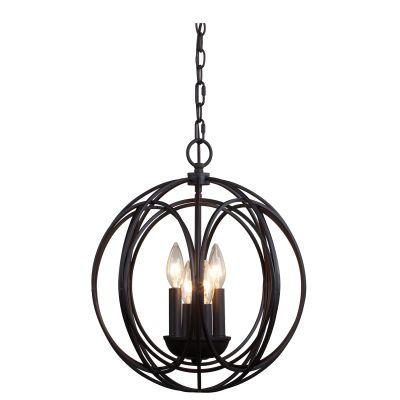 Pendente Veneto Esfera Aramado Aço Bronze Vidro 40x36cm Bella Iluminação 4 E14 Bivolt BR009S Entradas e Salas