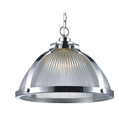 Pendente Hangar Transparente Prismatico Cromado 33x45cm Bella Iluminação 1 E27 Bivolt BR015 Cozinhas e Salas