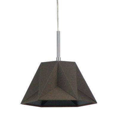 Pendente Poli Vertical Tecido Metal Marrom 25x29cm Bella Iluminação 1 G9 Halopin Bivolt CC004B Cozinhas e Quartos