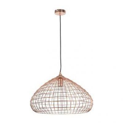 Pendente Arami Metal Cobre Redondo Aramado 28x50cm Bella Iluminação 1 E27 Bivolt CI003 Salas e Cozinhas