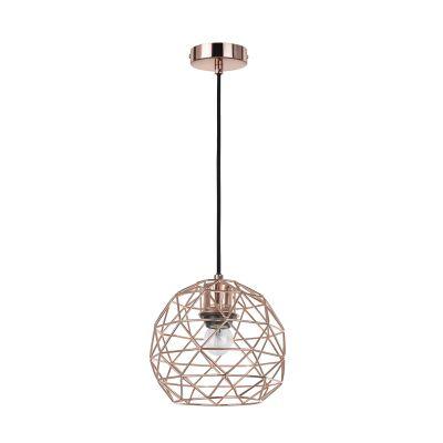 Pendente Arami Metal Cobre Esfera Aramado 18x21cm Bella Iluminação 1 E27 Bivolt CI004B Salas e Cozinhas