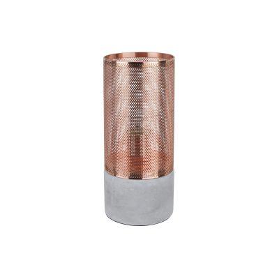 Abajur Telinha Concret Metal Cobre Tubular 28x12cm Bella Iluminação 1 E-27 Bivolt CI011B Mesas e Salas