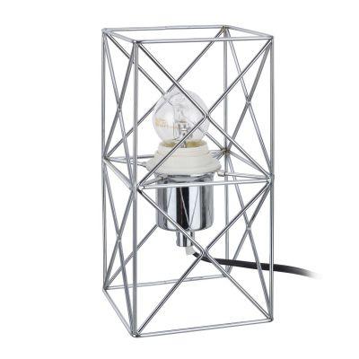Abajur Arami Aramado Retangular Metal Cromado 22x11cm Bella Iluminação 1 E-27 Bivolt CI014C Mesas e Salas