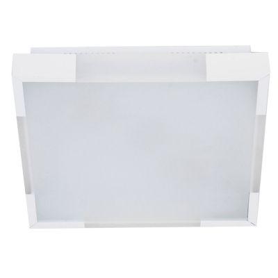 Plafon Alumínio Acrílico Vidro Quadrado Branco 36x36cm Bella Iluminação 2 E-27 Bivolt CM441-2W Quartos e Banheiros